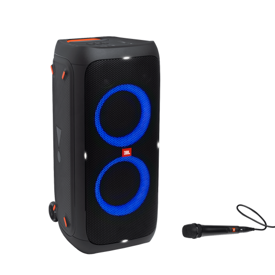 JBL Partybox 310 + Mic - Black - Portable party speaker with 240W powerful sound, built-in lightshow and wired mic - Hero